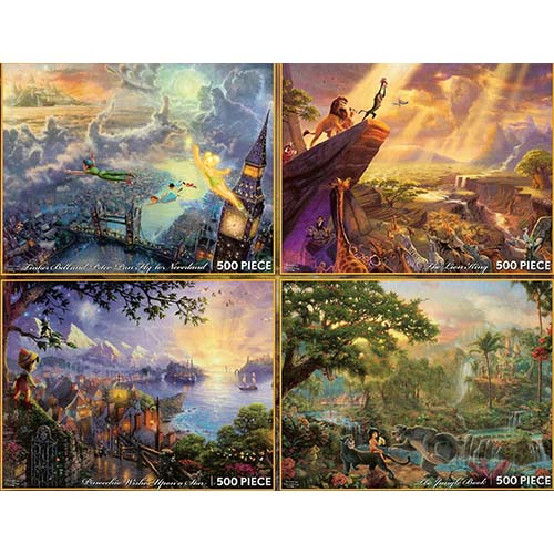 Disney Puzzle   Thomas Kinkade   Painter Of Light   4 Puzzle Set