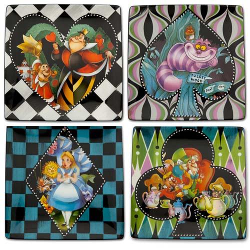 Disney Dessert Plate Set Alice In Wonderland 4 Pc Plates