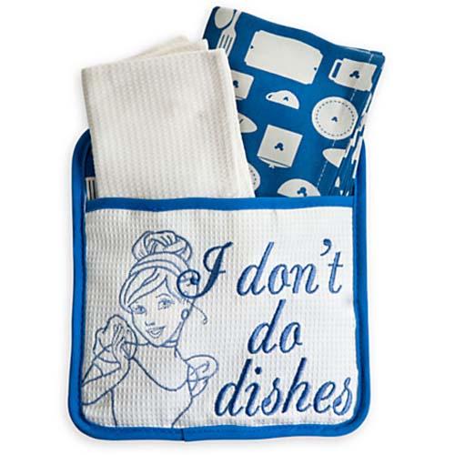 disney kitchen towel potholder set cinderella i dont do dishes - Kitchen Towel Sets