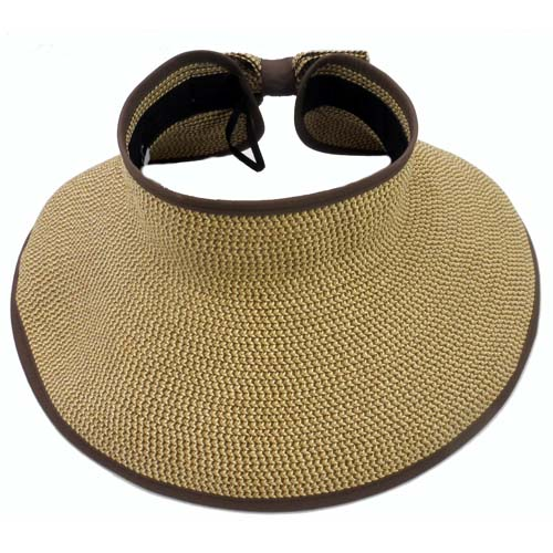 Disney World Sun Visor Hat - Roll-Up - Tweed Pattern - BROWN TRIM 1c142bb4d5a