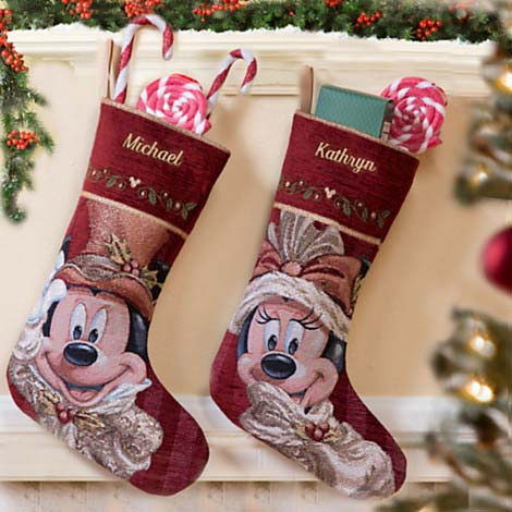 disney christmas holiday stocking victorian minnie mouse face