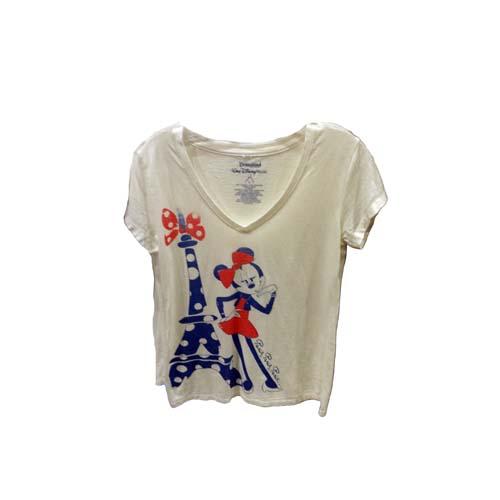 Disney Womens Shirt Minnie Eiffel Tower With Bows