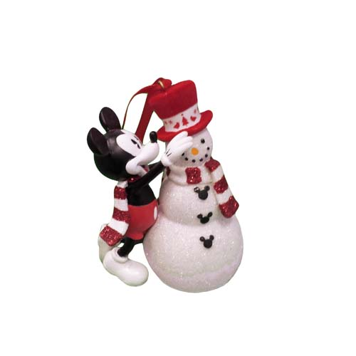 Disney Christmas Ornament Red And White Mickey And Snowman