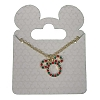 Disney Santa Mickey Necklace - Mickey Icon Red and Green Jewel Gold