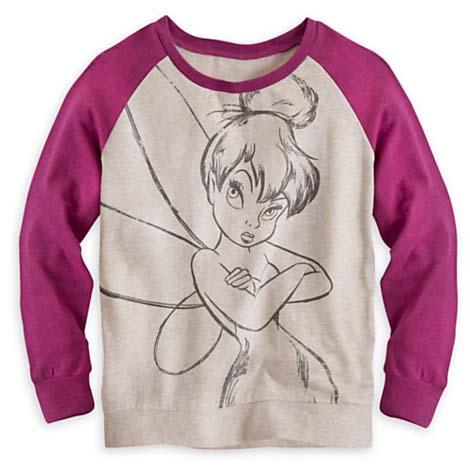 32584f80 Disney LADIES Shirt - Tinker Bell Long Sleeve Raglan Tee for Women