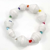 Disney EPCOT Recycled Paper Bracelet - White with Rainbow Beads