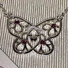 Disney Necklace - Sterling Silver Mickey Gem Accent Butterfly