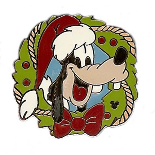 Disney Lanyard Pin Collection Holiday Wreath Goofy