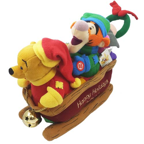 disney musical plush sleigh winnie the pooh tigger eeyore