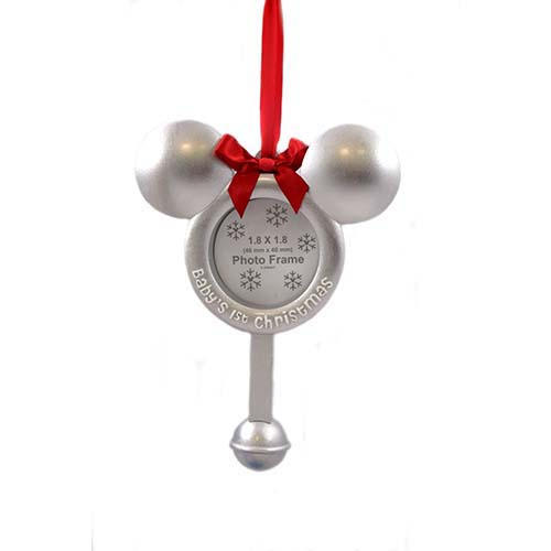 disney christmas frame ornament babys 1st christmas mickey rattle