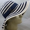 Disney Ladies Sun Shade Hat - Blue and White Striped, Mickey Icon