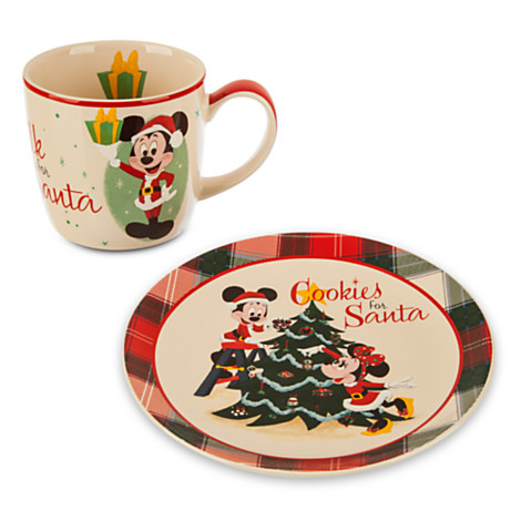 disney holiday mug and plate set mickey cookies and milk for santa