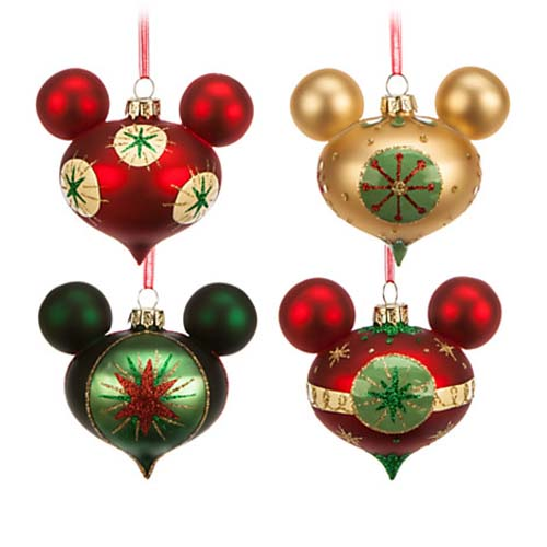 disney christmas ornament set mickey mouse retro holiday - Mickey Mouse Christmas Decorations