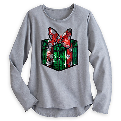 520bae65 Disney Womens Shirt - Minnie Bow Wrapped Gift Metallic