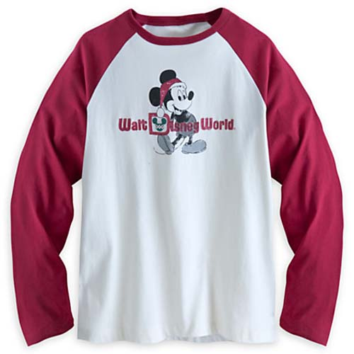 Disney Adult Shirt - Santa Mickey Mouse Long Sleeve Raglan