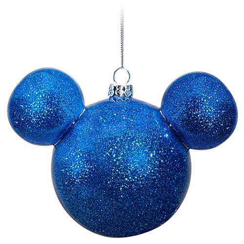 disney christmas ornament mickey mouse ears icon ball blue glitter