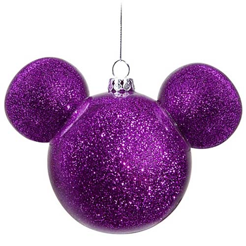 - Disney Christmas Ornament - Mickey Mouse Ears Ball - Purple Glitter