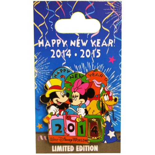 Disney New Year Pin - 2014 2015 - Mickey & Minnie Mouse Spinner