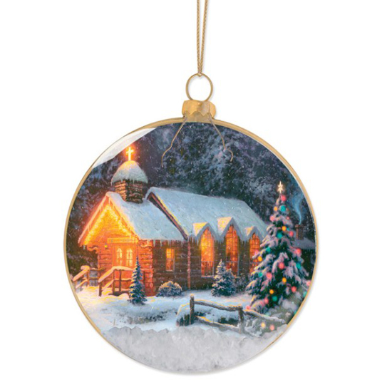 Disney Disc Ornament Thomas Kinkade Christmas Chapel