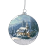 Disney Glass Ball Ornament - Thomas Kinkade - Snowy Christmas Chapel