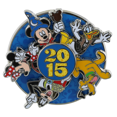 7273a0373a0 Disney Annual Pin - 2015 Logo - Mickey and Friends - Spinner