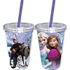 Disney Thermal Tumbler with Straw - Frozen Group Elsa Anna Olaf Sven - Cristof