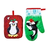 SeaWorld Oven Mitt and Pot Holder Set - Penguin And Shamu Holiday