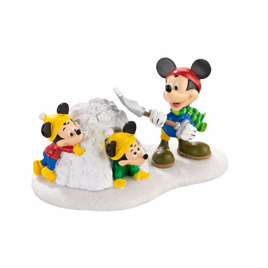 Disney Village Figurine - Mickey's Snow Fort Fun