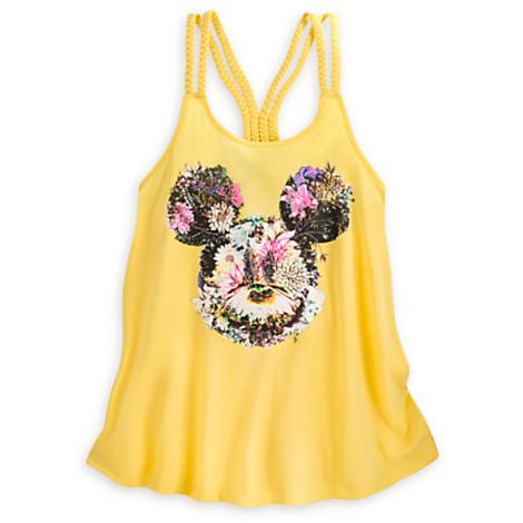 90755dfc268668 Disney WOMEN S Shirt - Mickey Mouse Floral Tank Top - Yellow