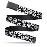 Disney Web Belt - Jack Skellington Faces - B&W