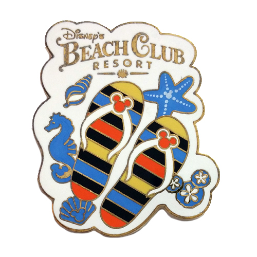 Disney Beach Club Resort Pin Mickey Flip Flops Logo