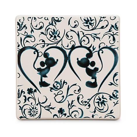 Disney Ceramic Tile Mickey And Minnie Silhouette Indigo
