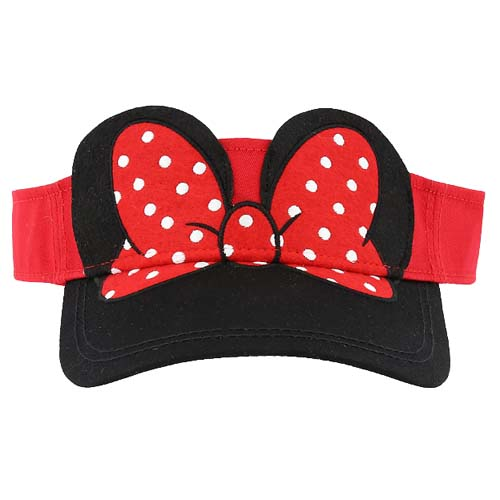 3fab5497a36 Disney Sun Visor Hat - Felt Minnie Ears w   Red Polka Dot Bow