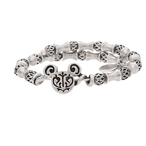 Disney Alex And Ani Charm Bracelet Mickey Mouse Filigree Wrap Silver