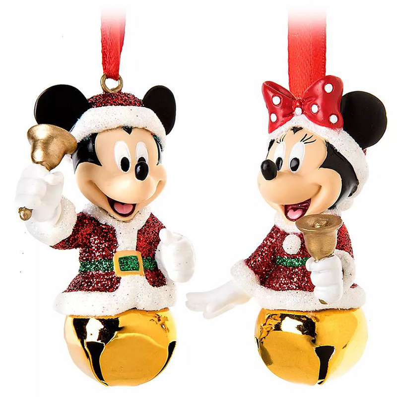 Disney Jingle Bell Ornament Set - Santa Mickey & Minnie