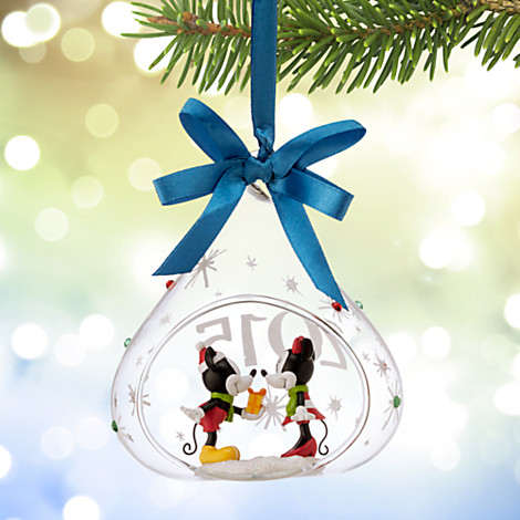 disney christmas ornament mickey and minnie mouse glass 2015 - Disney Christmas 2015