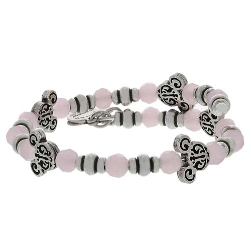 Disney Alex And Ani Bracelet Mickey Filigree Pink Bead Wrap Silver