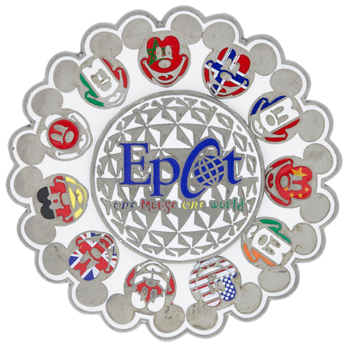 743ea18239a Disney Epcot Pin - Mickey Icon Flags - Spaceship Earth Spinner