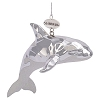 SeaWorld Christmas Ornament - Silver and Glitter Shamu Orca