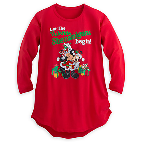 disney ladies pajamas mickey minnie shenanigans night shirt