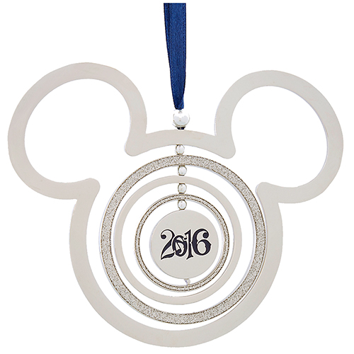 af9a48298d6 Add to My Lists. Disney Christmas Ornament - Silver Metal Mickey Ears  Spinner - 2016 Blue