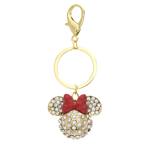 Disney Keychain - Minnie Mouse Icon - Gold-tone with Crystals f27c5070f
