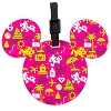 Disney Luggage Tag - Vacation Icons and Characters - Pink
