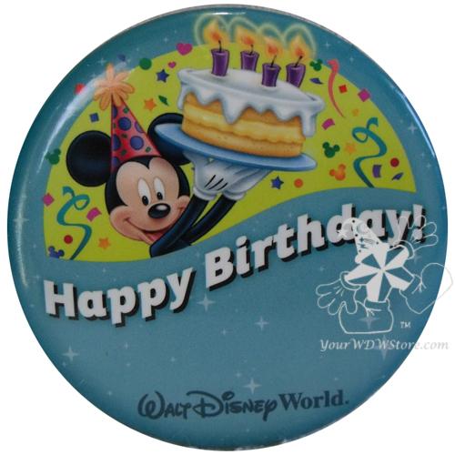 Walt Disney World Happy Birthday Button Pin,Badge Mickey