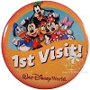 Disney Souvenir Button - 1st Visit - Mickey And Pals