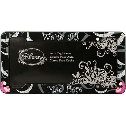 Disney License Plate Frame Cheshire Cat We Re All Mad