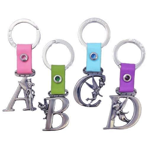 Disney Keychain Keyring - Pewter Tinkerbell Initial