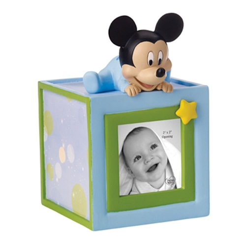 Disney Precious Moments Figurine - Baby Mickey Photo Cube Bank