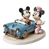 Disney Precious Moments Figurine - Mickey In Car with Minnie on Skates