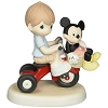 Disney Precious Moments Figurine - Boy with Mickey on Tricycle